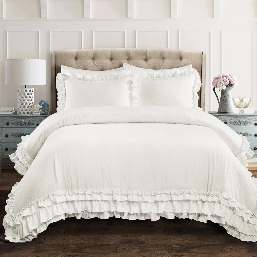 Ella Shabby Chic Ruffle Lace Comforter White 3Pc Set King - Lush Decor 16T004405