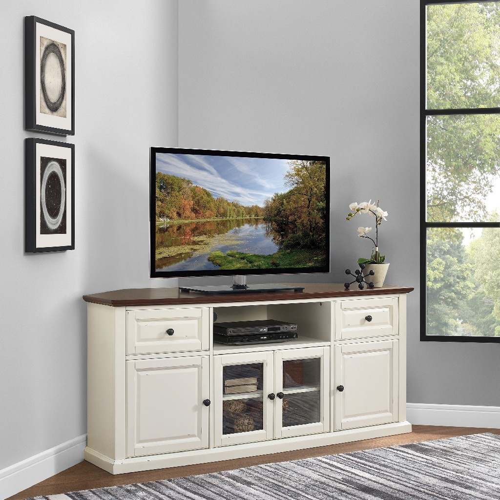 "60"" Corner Tv Stand In White - Crosley CF1000260-WH"