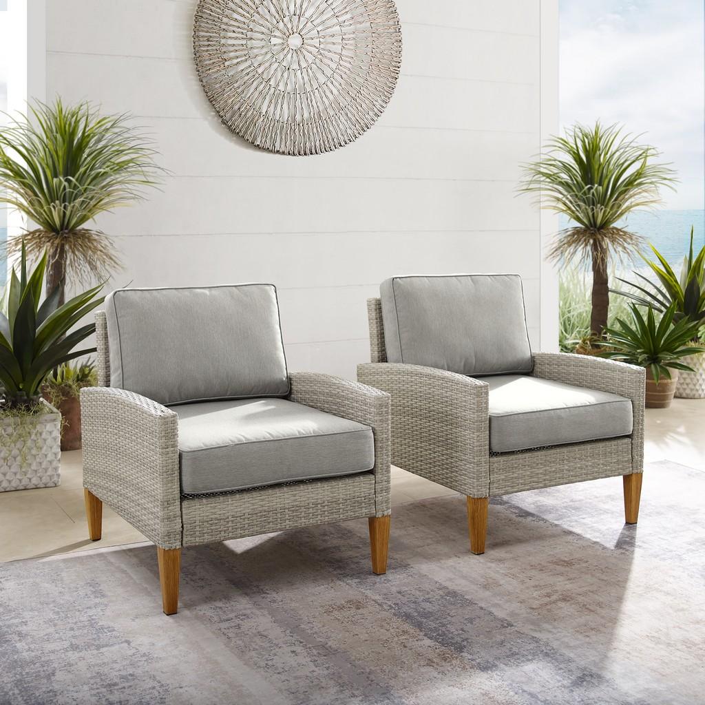 Crosley Capella Outdoor Wicker Chair Set Gray