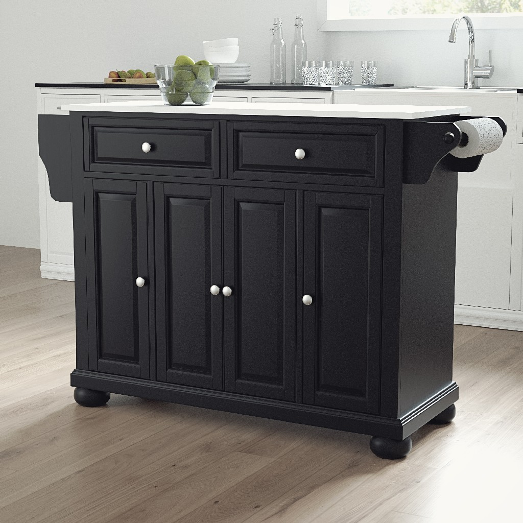 Alexandria Granite Top Full Size Kitchen Island/Cart in Black - Crosley KF30005ABK