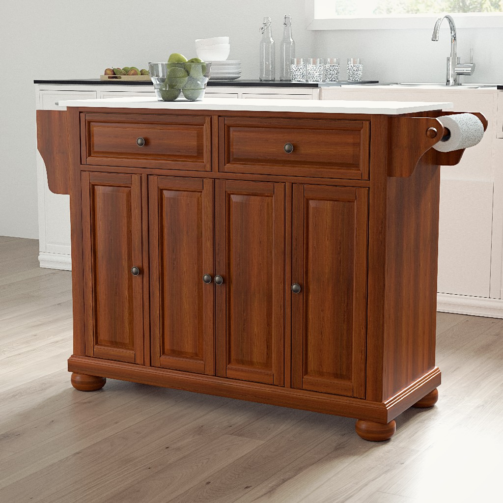 Alexandria Granite Top Full Size Kitchen Island/Cart in Cherry - Crosley KF30005ACH