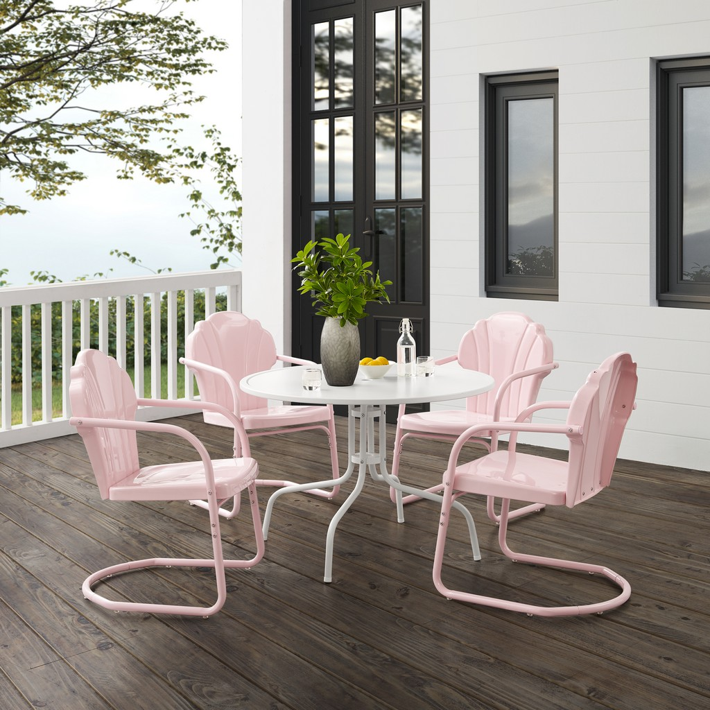 Outdoor Dining Set Pastel Pink Gloss White Satin Dining Table Chairs