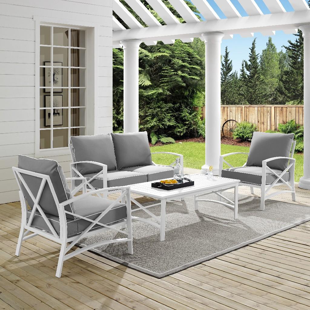 Outdoor | Coffee | Table | White | Seat | Gray | Set
