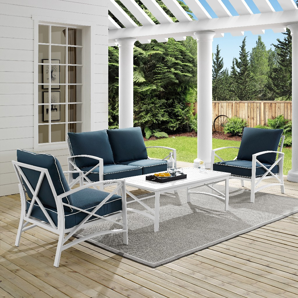 Outdoor | Coffee | Table | White | Seat | Navy | Set