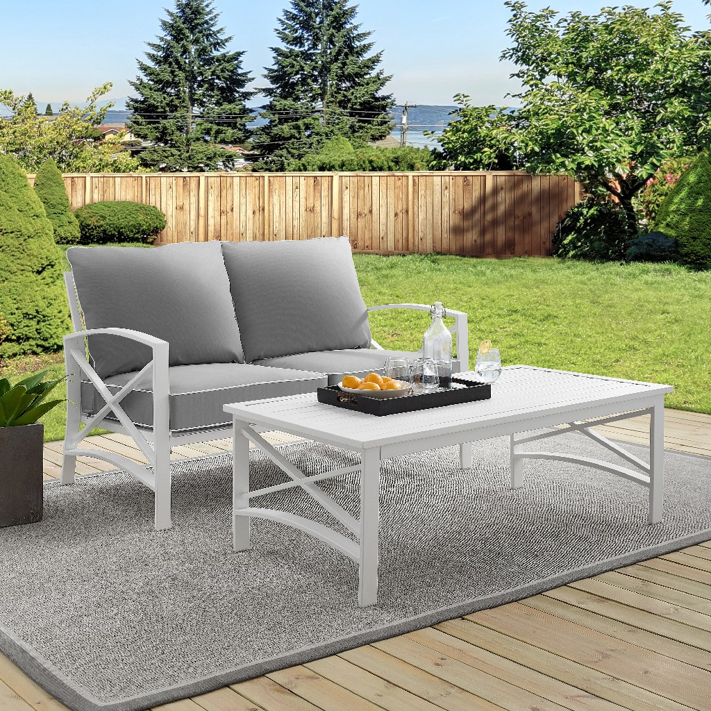Outdoor | Coffee | Table | White | Seat | Gray | Set