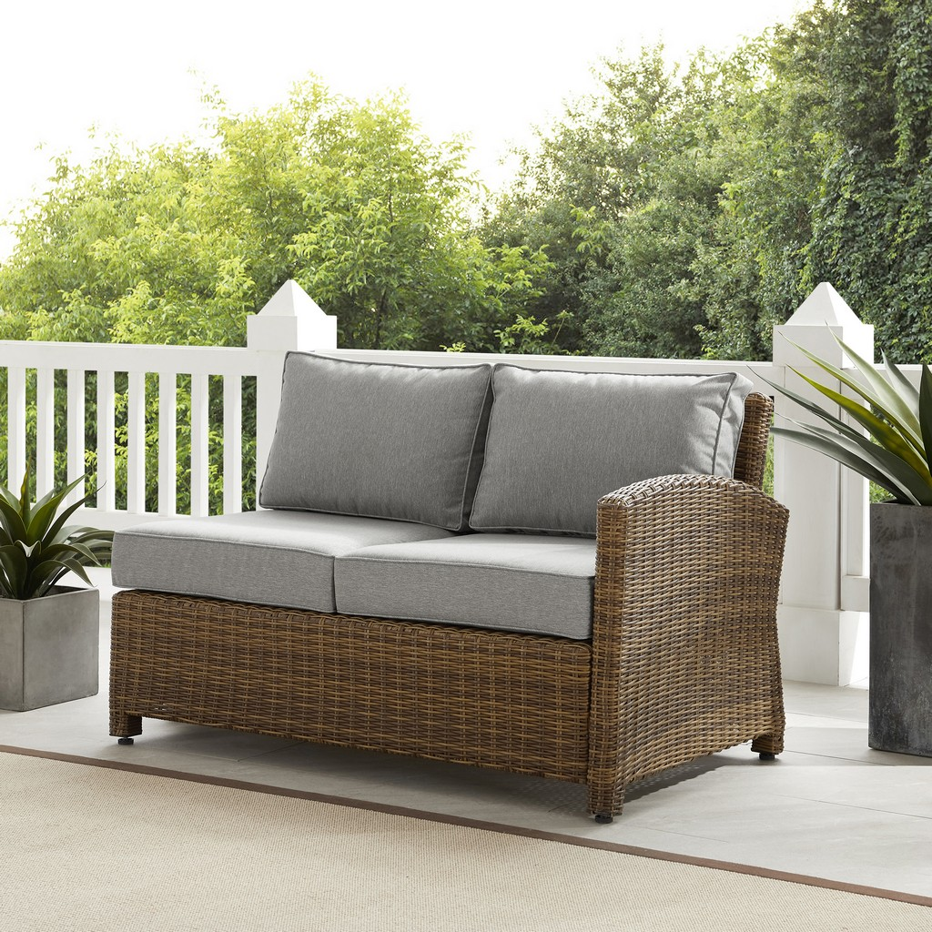Outdoor Wicker Sectional Right Side Loveseat Gray Weathered Brown