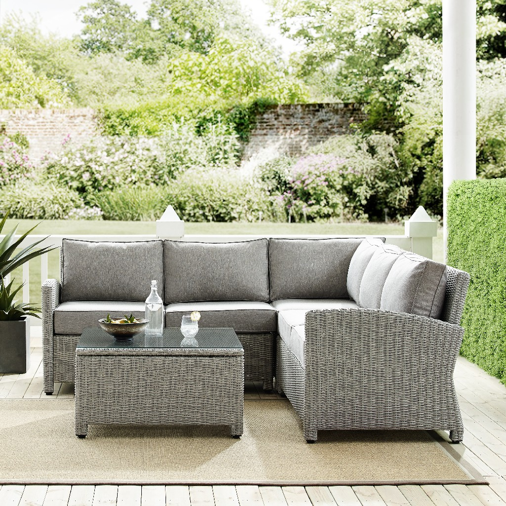 Crosley Brands Sectional Outdoor Wicker Set Right Corner Loveseat