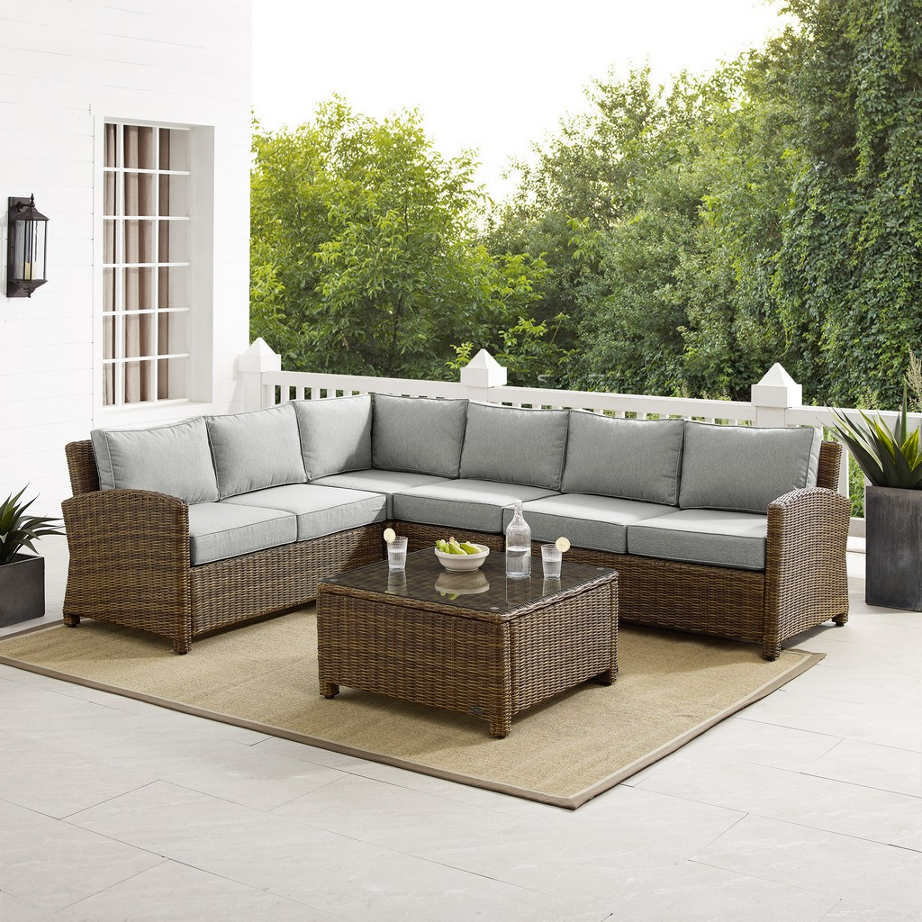 Outdoor Wicker Sectional Set Gray Weathered Brown Left Loveseat Right Loveseat Center Chair Corner Chair Coffee Table