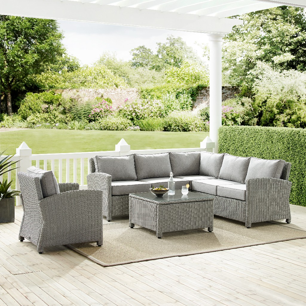 Crosley Brands Sectional Outdoor Wicker Set Loveseat Corner Chair