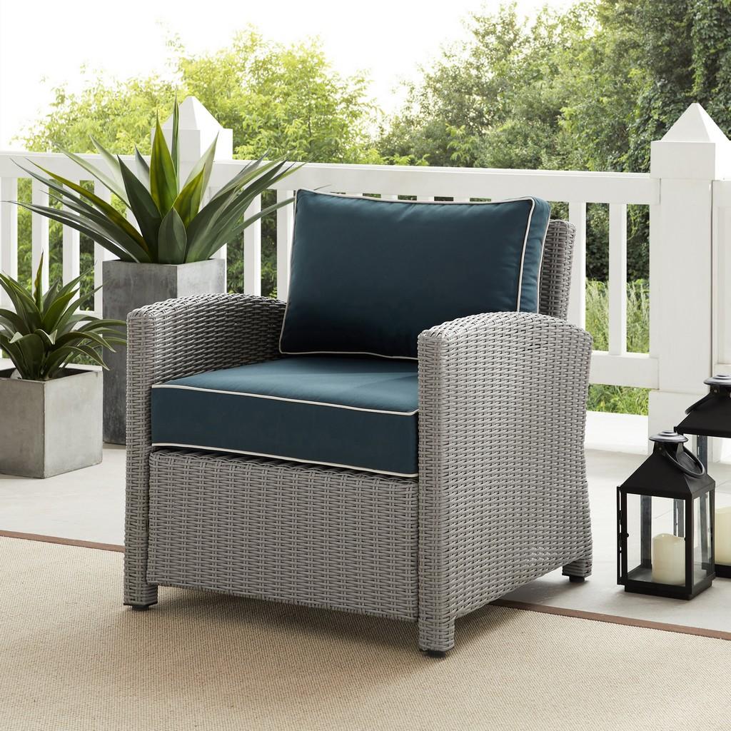 Outdoor Wicker Armchair Gray