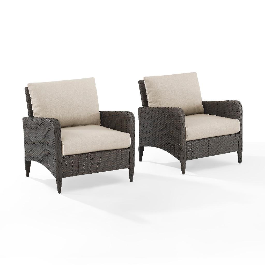 Crosley Outdoor Wicker Chair Set Sand