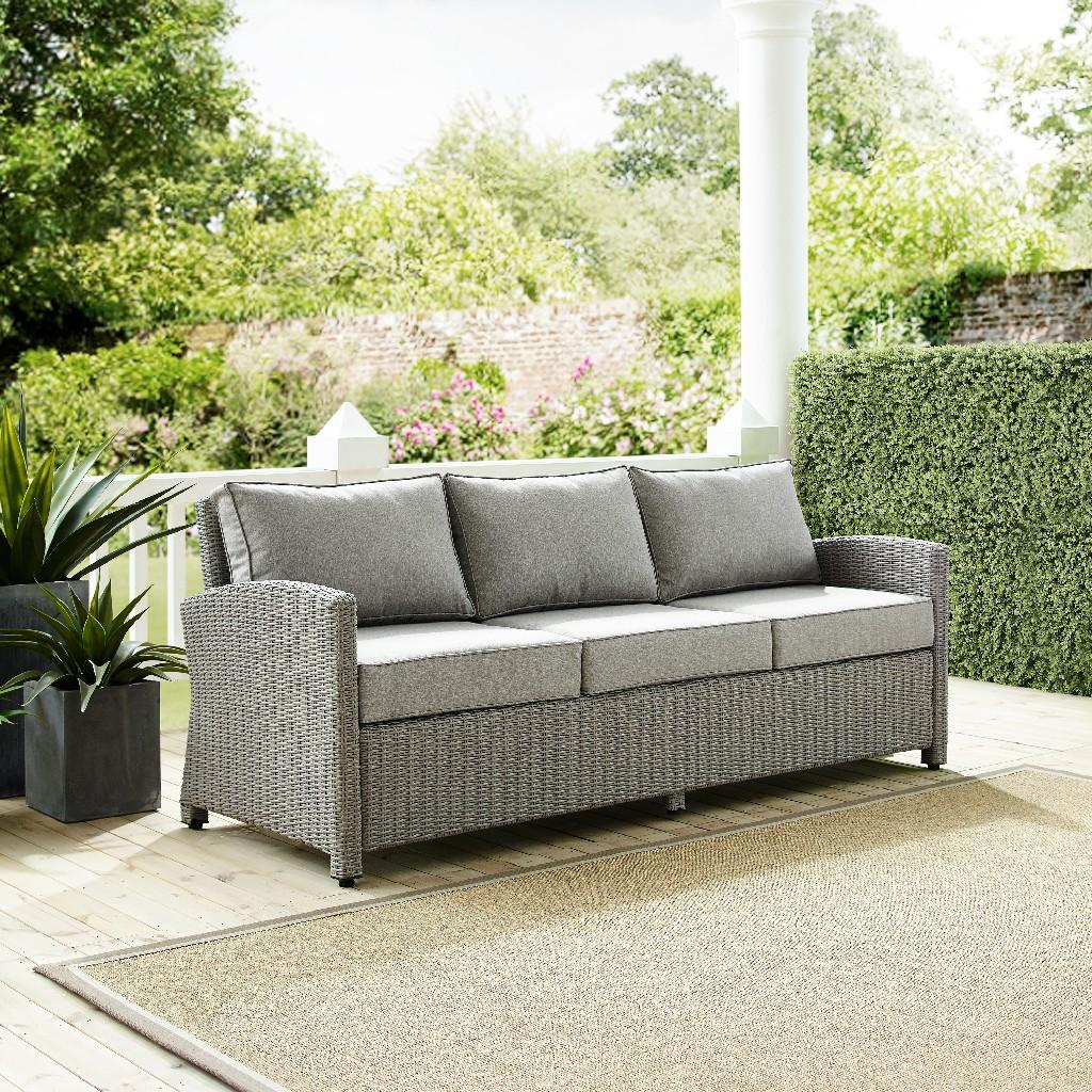 Crosley Brands Wicker Sofa Outdoor Gray