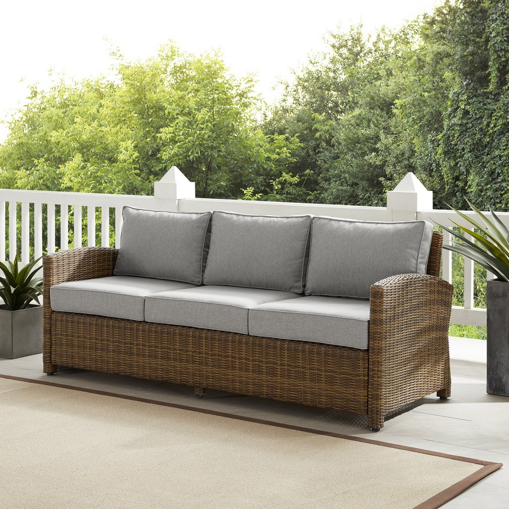 Outdoor Wicker Sofa Weathered Brown Gray