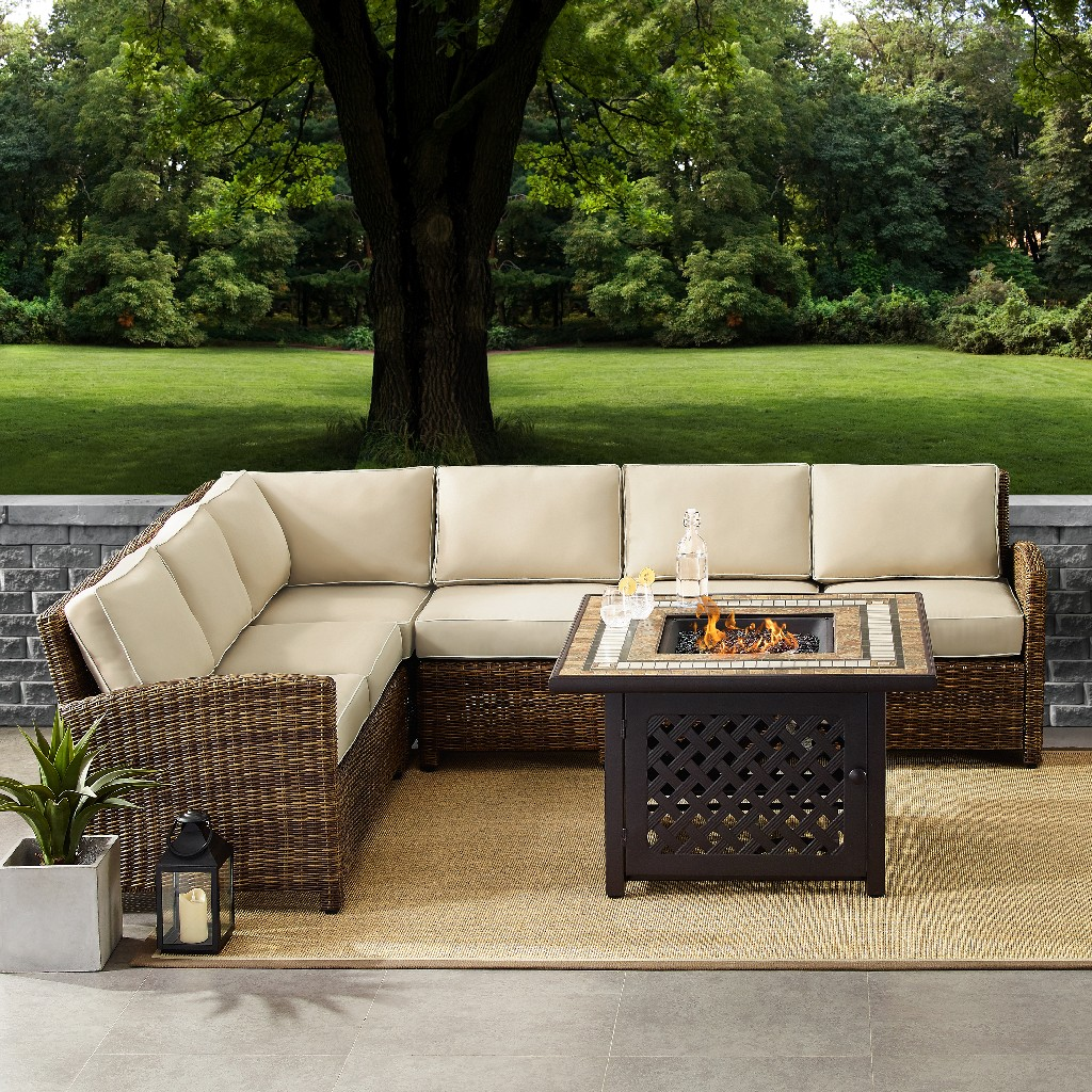 Outdoor Wicker Seating Set Sand Cushions Right Corner Loveseat Left Corner Loveseat Corner Chair Center Chair Fire Table