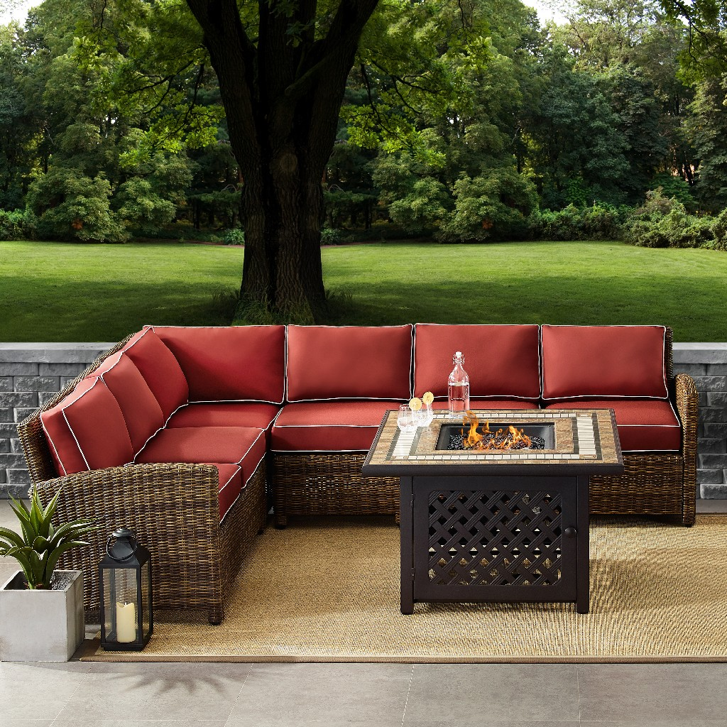 Outdoor Wicker Seating Set Sangria Cushions Right Corner Loveseat Left Corner Loveseat Corner Chair Center Chair Fire Table