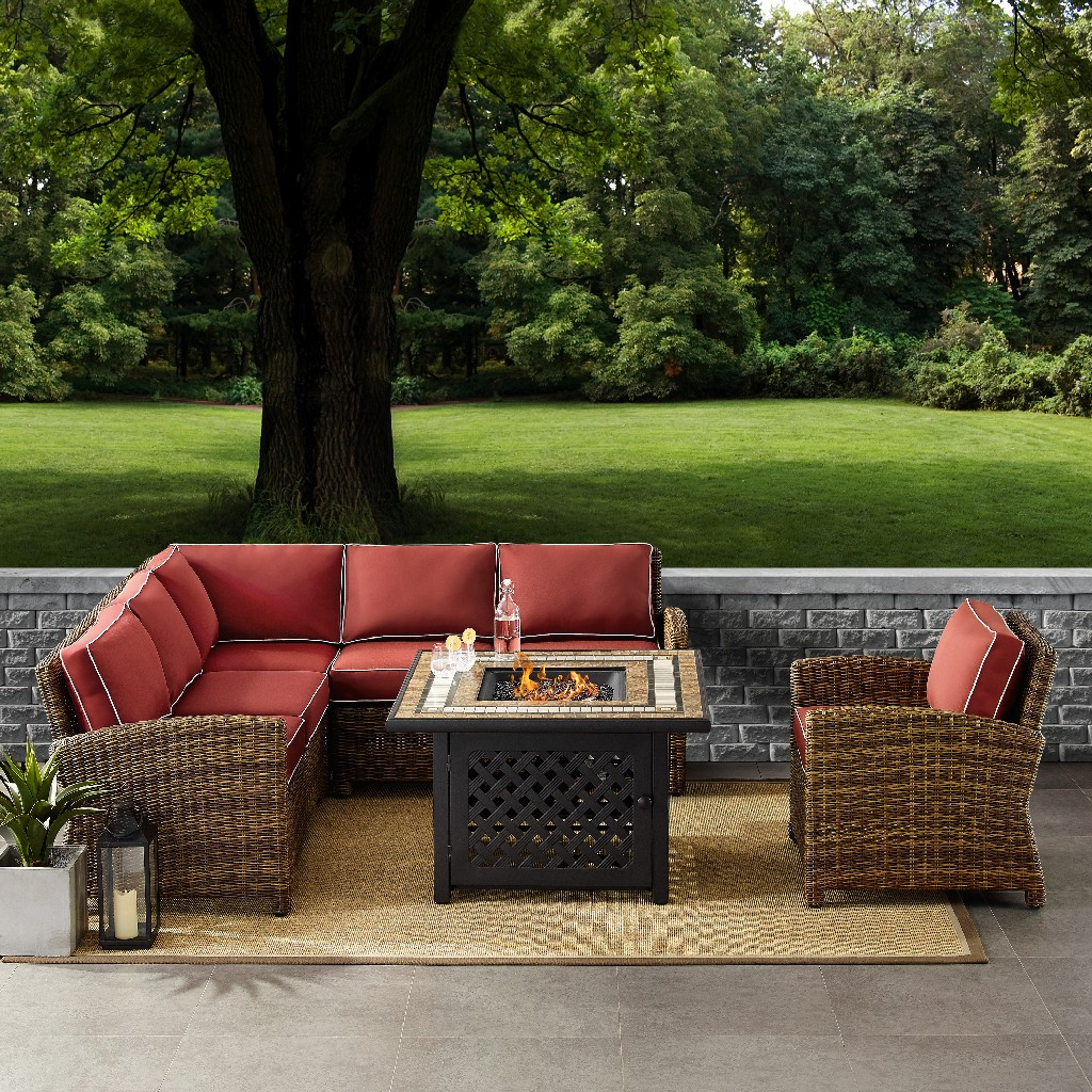 Outdoor Wicker Seating Set Sangria Cushions Right Corner Loveseat Left Corner Loveseat Corner Chair Arm Chair Fire Table