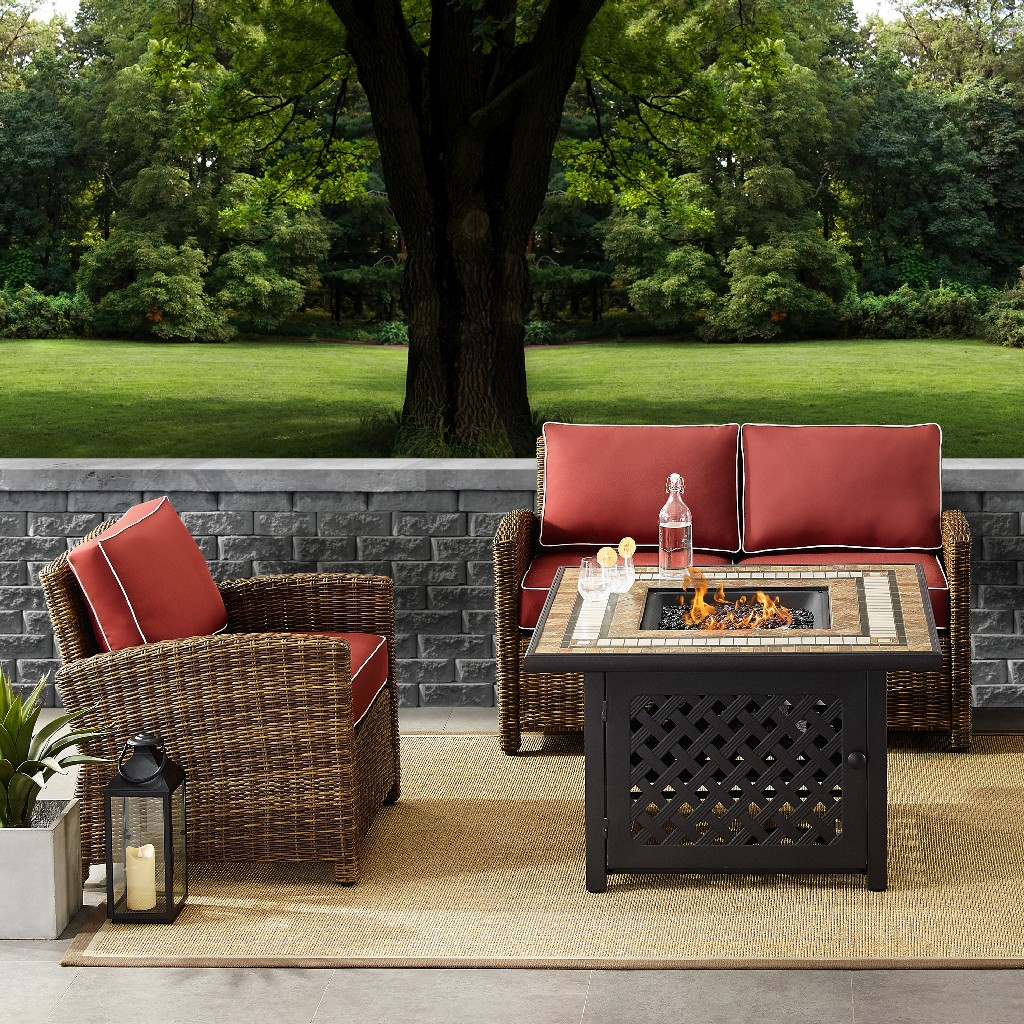 Outdoor Wicker Seating Set Sangria Cushions Loveseat Arm Chair Fire Table