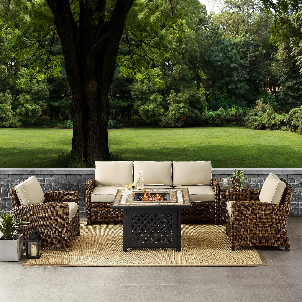 Outdoor Wicker Sofa Conversation Set Sand Cushions Sofa Two Arm Chairs Side Table Fire Table