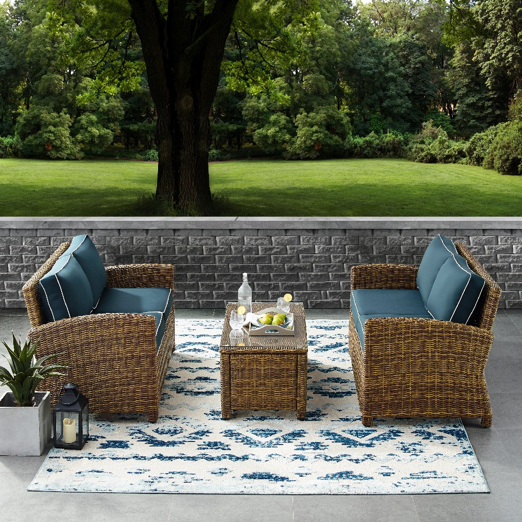 Crosley Brands Outdoor Loveseat Wicker Seating Set Navy
