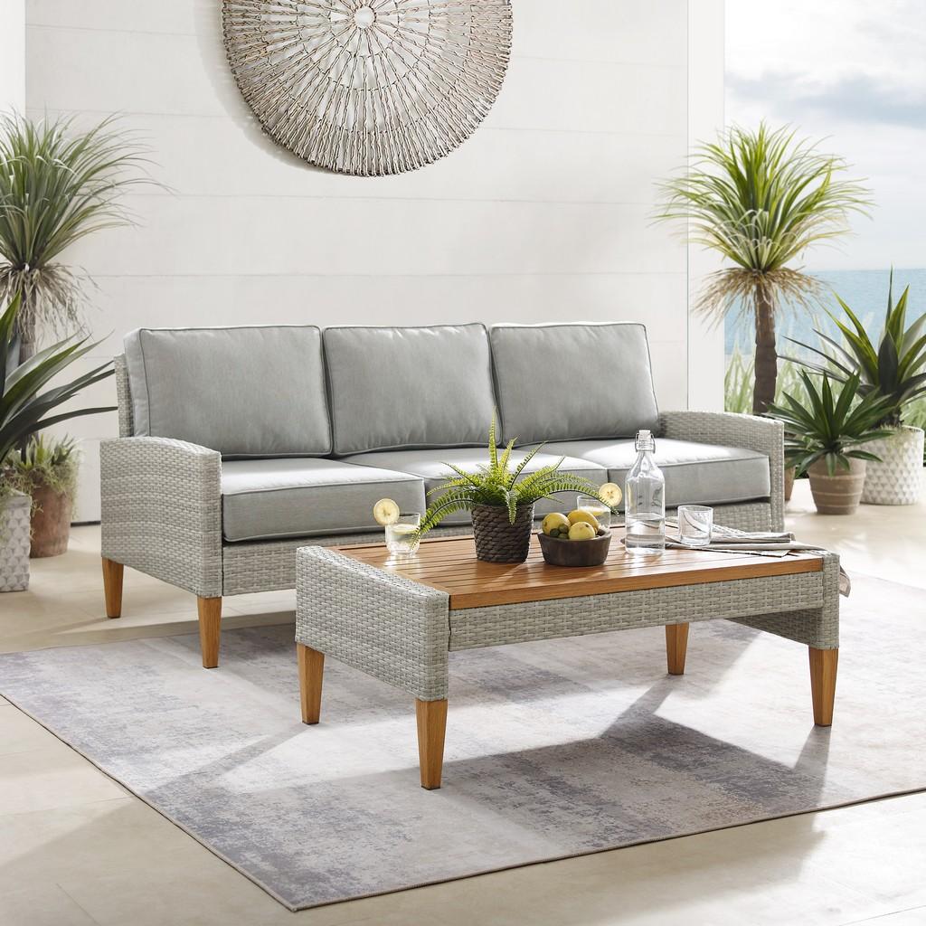 Capella Outdoor Wicker Sofa Set Gray