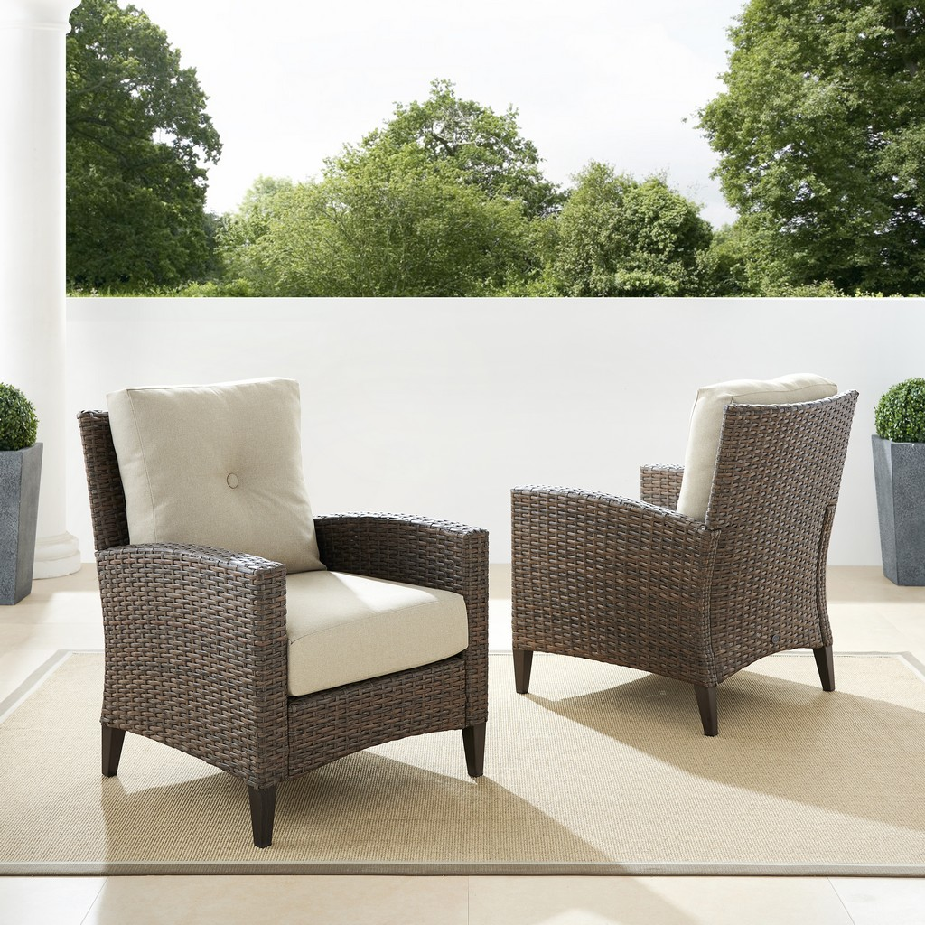 Outdoor Wicker High Back Chair Set Oatmeal Light Brown Armchairs