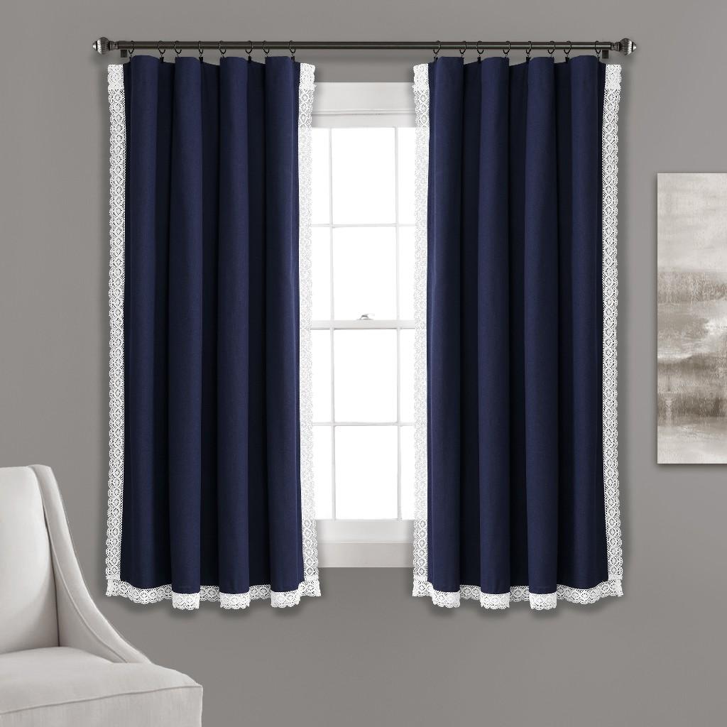 Rosalie Window Curtain Panels Navy 54x63 Set - Lush Decor 16T003930