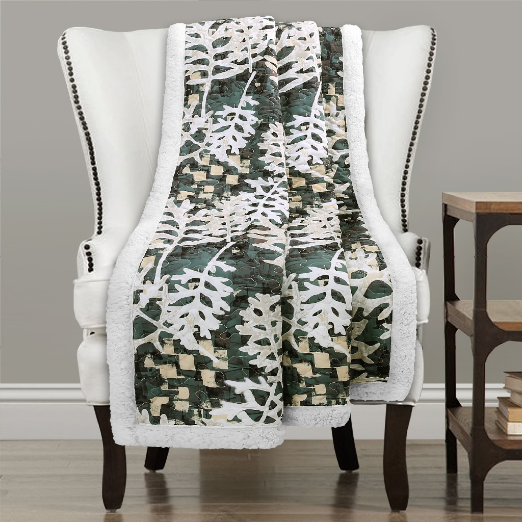 Camouflage Leaves Sherpa Throw Green - Lush Decor 16T003144