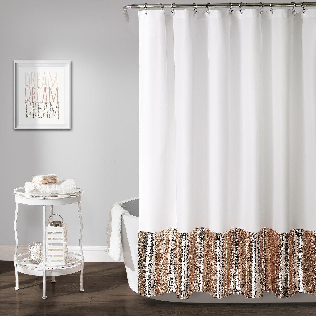 Mermaid | Curtain | Sequin | Shower | Single | Decor | White