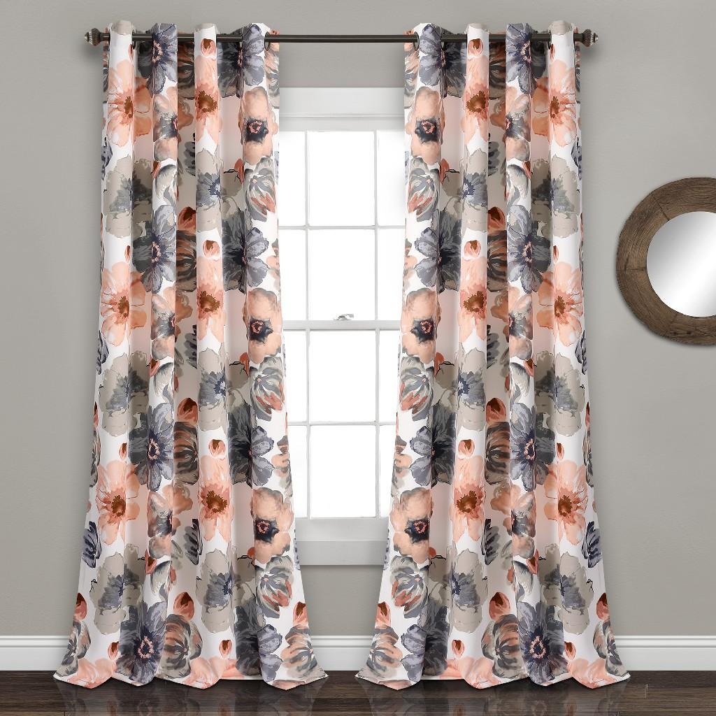 Leah Room Darkening Window Curtain Panels Coral/Gray Set 52x120 - Half Moon 16T003853