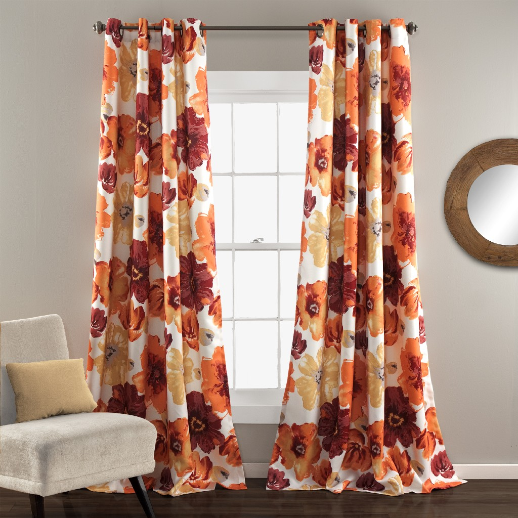 Leah Room Darkening Window Curtain Panels Red/Orange Set 52x120 - Half Moon 16T003855
