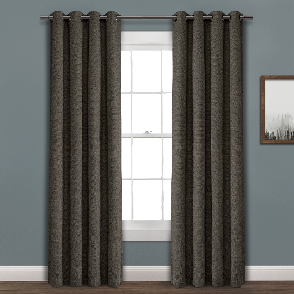 Faux Linen Absolute Grommet Blackout Grommet Window Curtain Panel Single Charcoal 52X95 - Lush Decor 16T003994