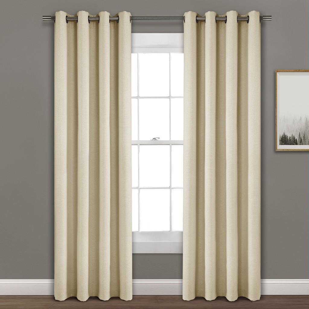 Faux Linen Absolute Grommet Blackout Window Curtain Panel Single Wheat 52X95 - Lush Decor 16T003996