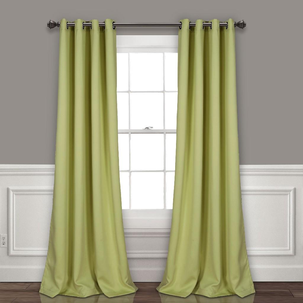 Lush Décor Insulated Grommet Blackout Window Curtain Panels Sage Set 52X120 - Half Moon 16T004207