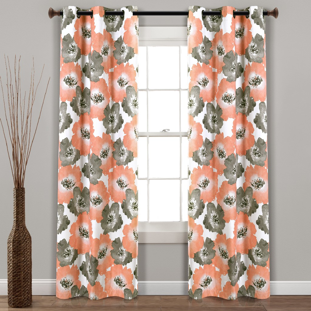 Julie Floral Insulated Grommet Blackout Window Curtain Panels Coral/Gray 38X95 Set - Lush Decor 16T004487