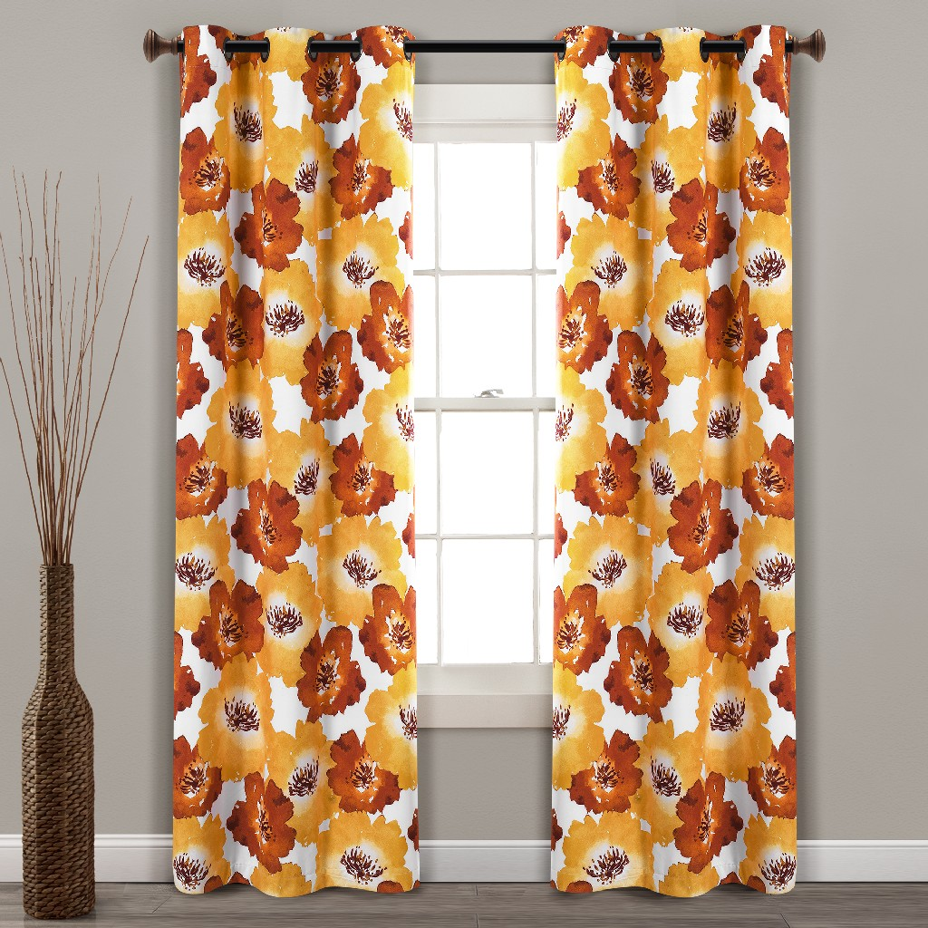 Julie Floral Insulated Grommet Blackout Window Curtain Panels Red/Yellow 38X84 Set - Lush Decor 16T004488