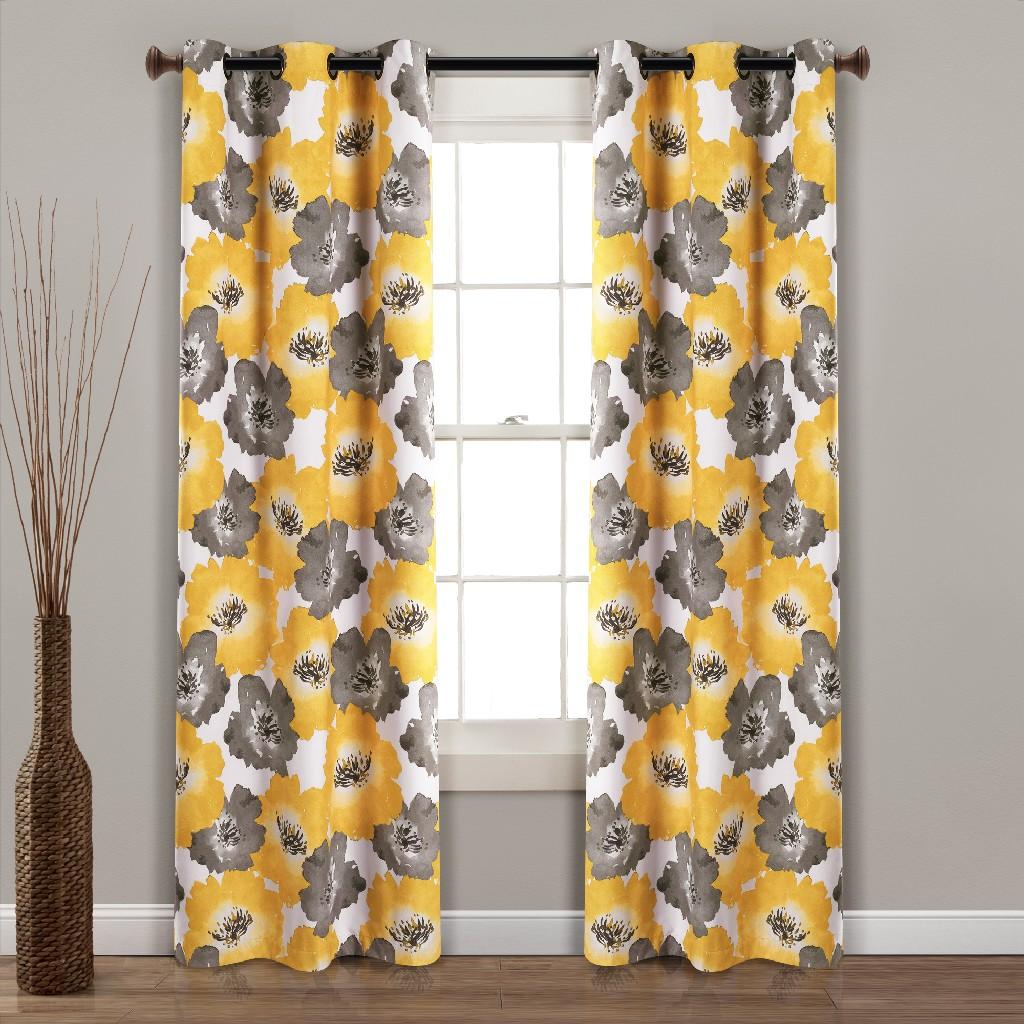 Blackout   Curtain   Window   Floral   Decor   July   Set