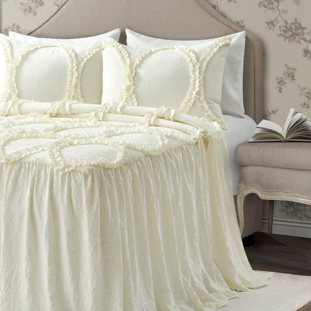 Riviera Bedspread Ivory 3Pc Set King - Lush Decor 16T004693