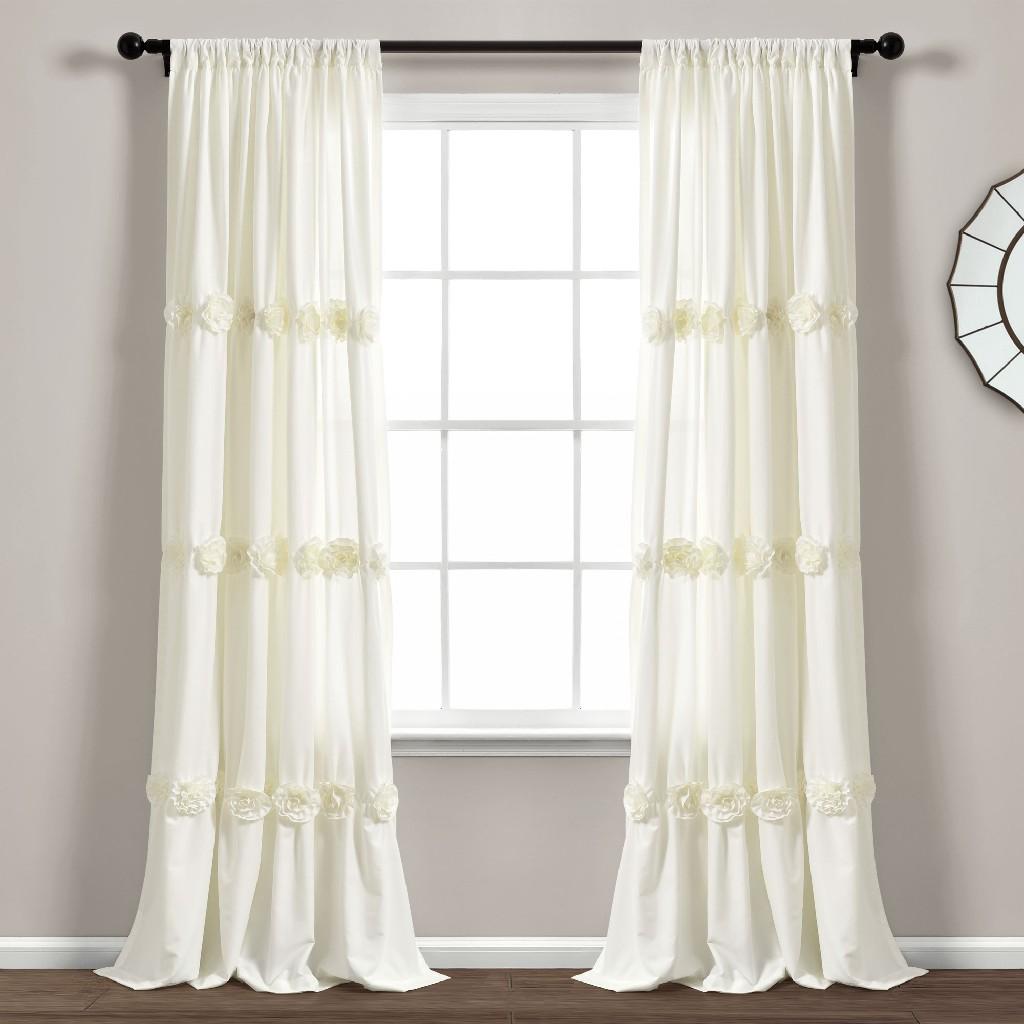 Darla Window Curtain Panel Ivory Single 40X84 - Lush Decor 16T005087