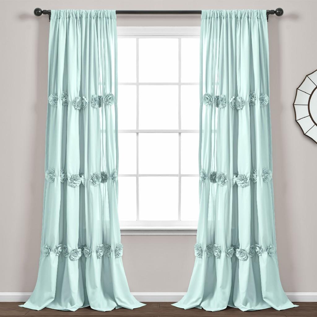 Darla Window Curtain Panel Blue Single 40X84 - Lush Decor 16T005091