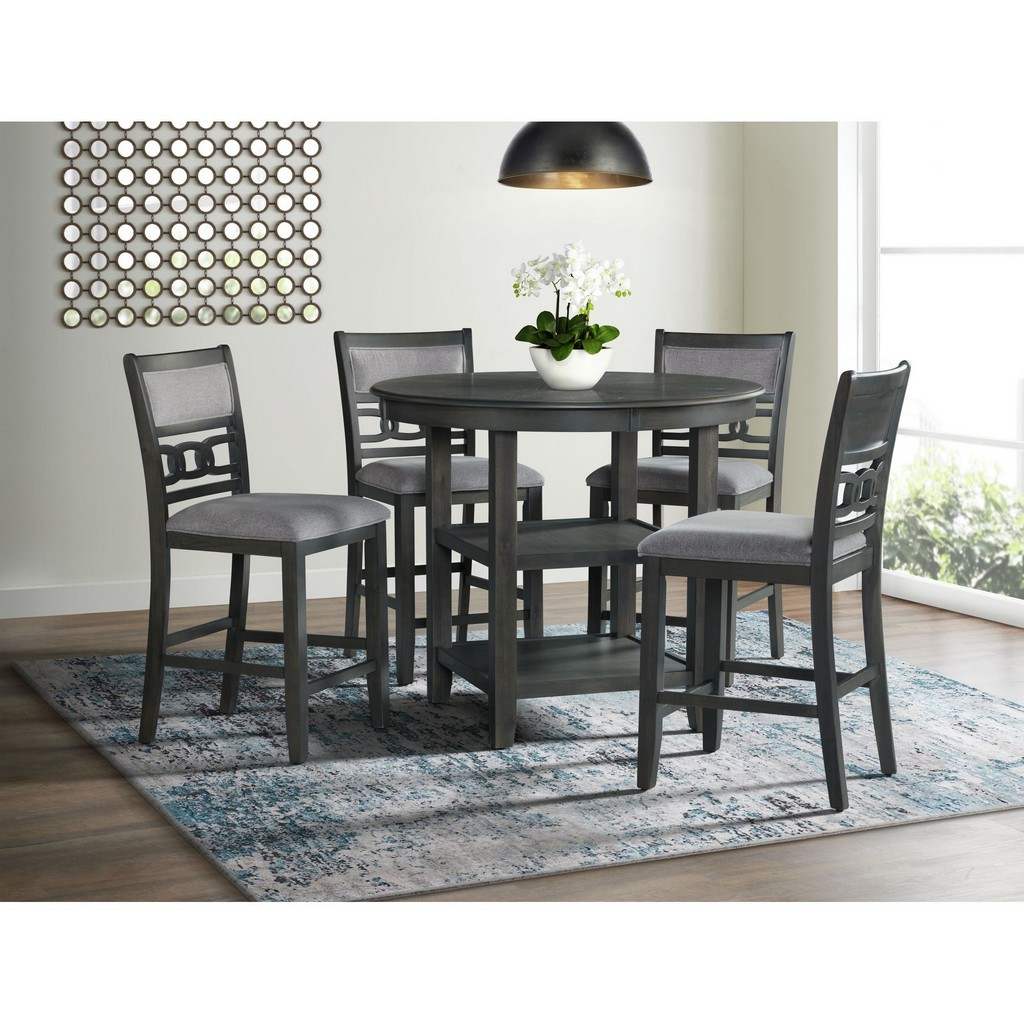 Picket House Taylor Counter Dining Set Table Four Side Chairs Gray