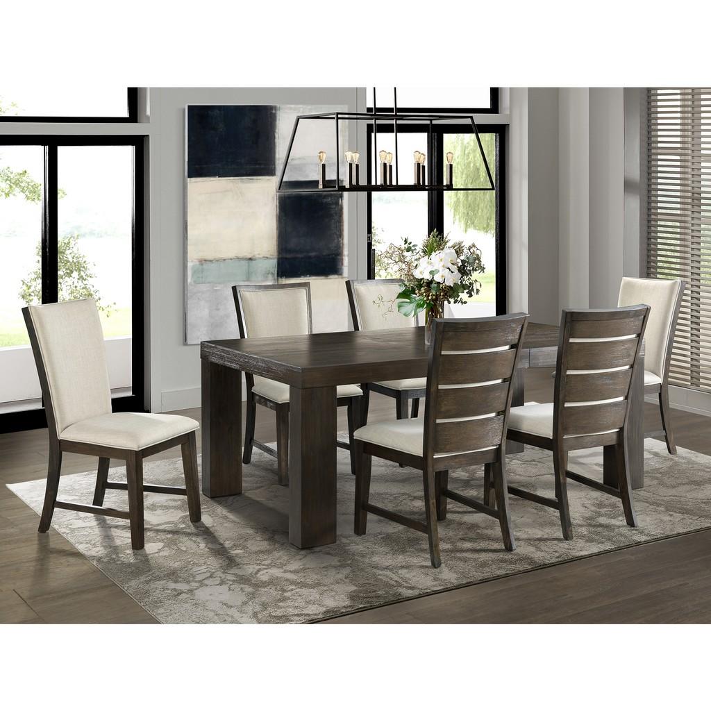 Dining Set Table Six Slat Back Chairs