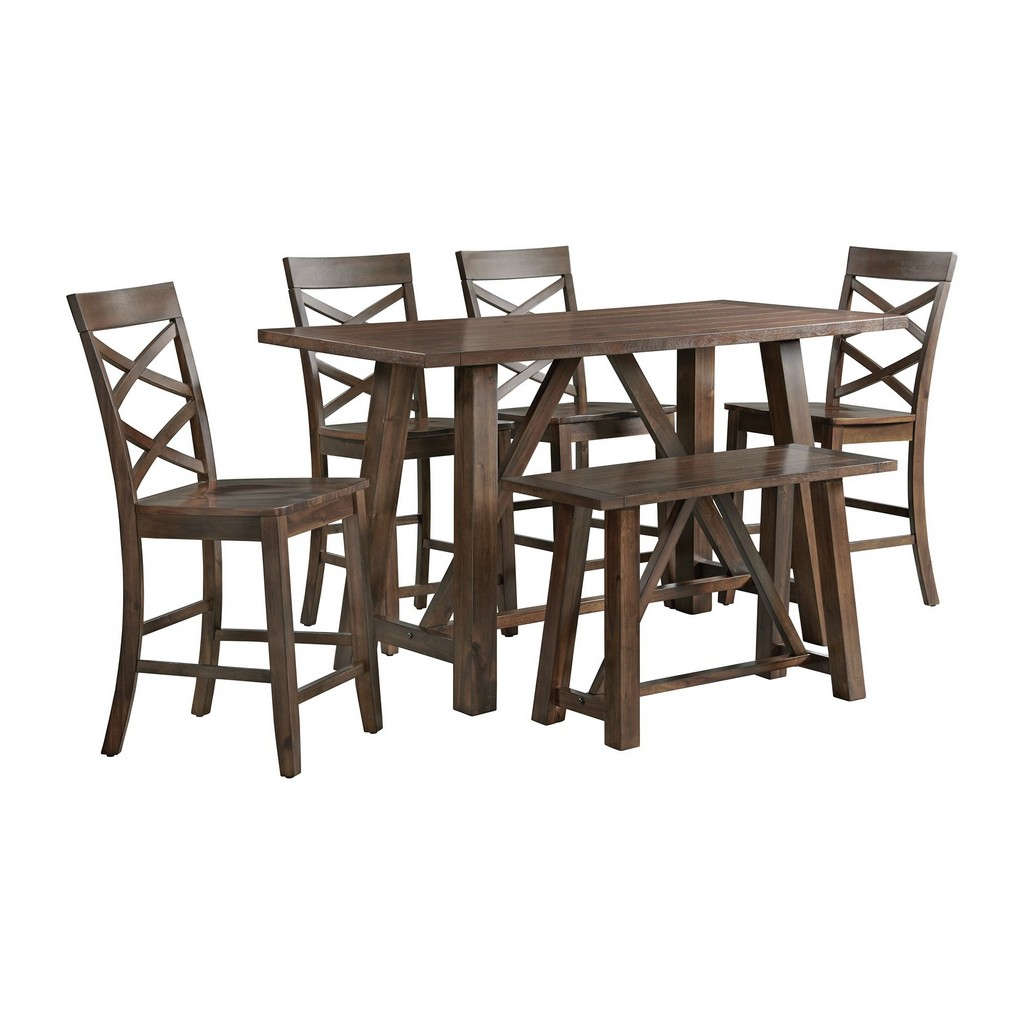Regan Counter Dining Set Cherry Table Side Chairs Bench