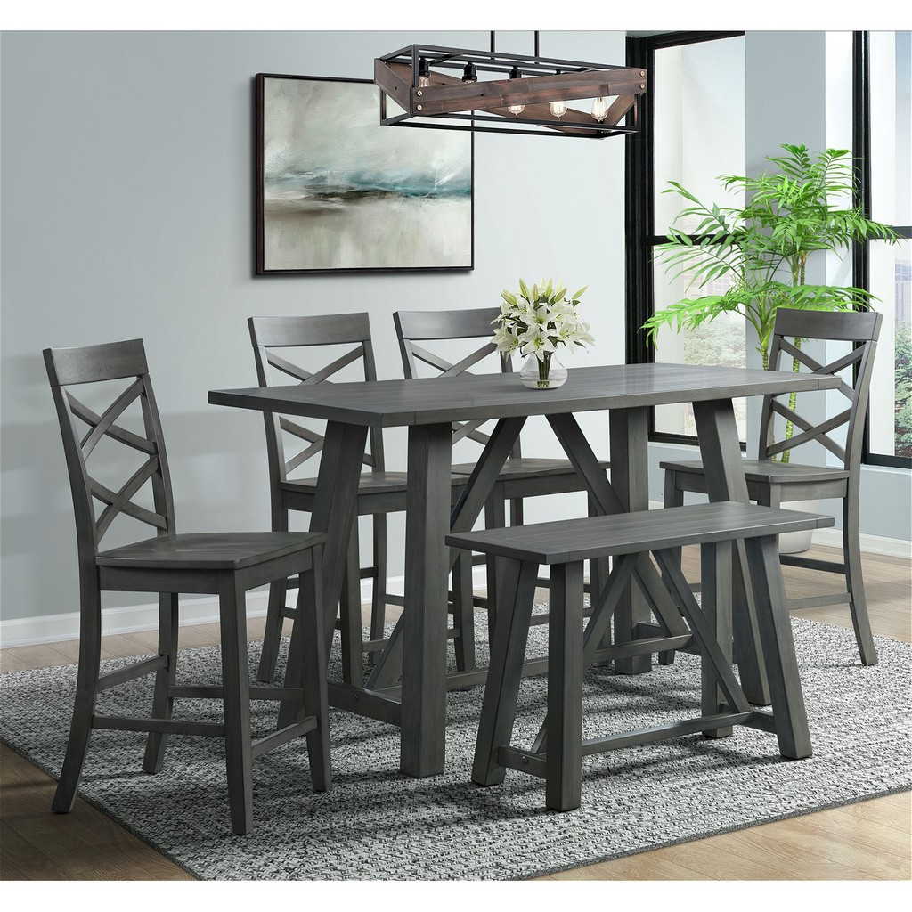 Regan Counter Dining Set Gray Table Side Chairs Bench