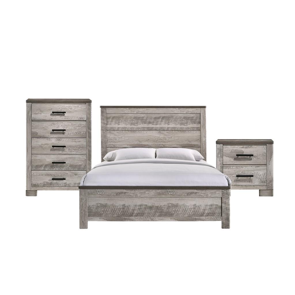 Adam Full Panel 3PC Bedroom Set in Gray - Picket House Furnishings MC300FB3PC