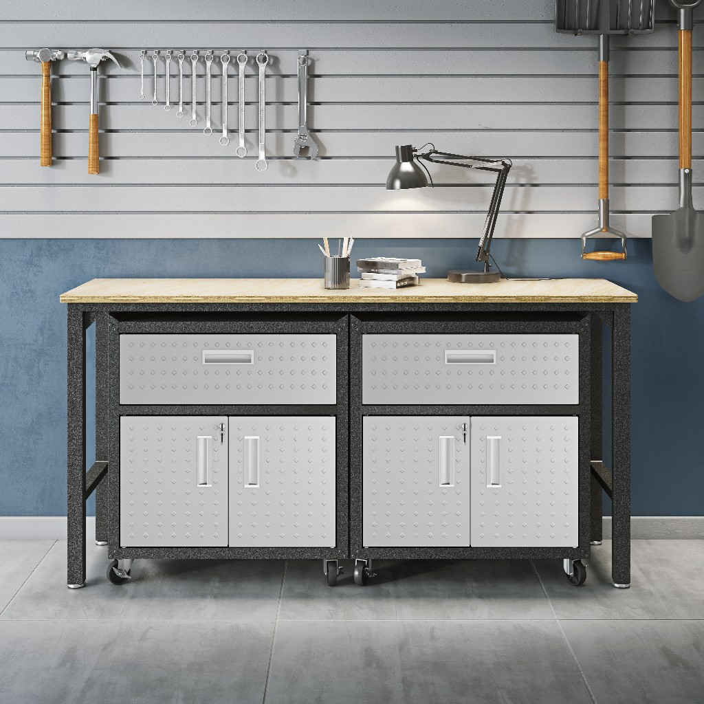 3-Piece Fortress Mobile Space-Saving Garage Cabinet and Worktable 4.0 in Grey - Manhattan Comfort 17GMC