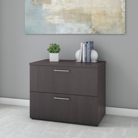 Bush Business Furniture 400 Series 36W 2 Drawer Lateral File Cabinet in Storm Gray - 400SFL236SGK