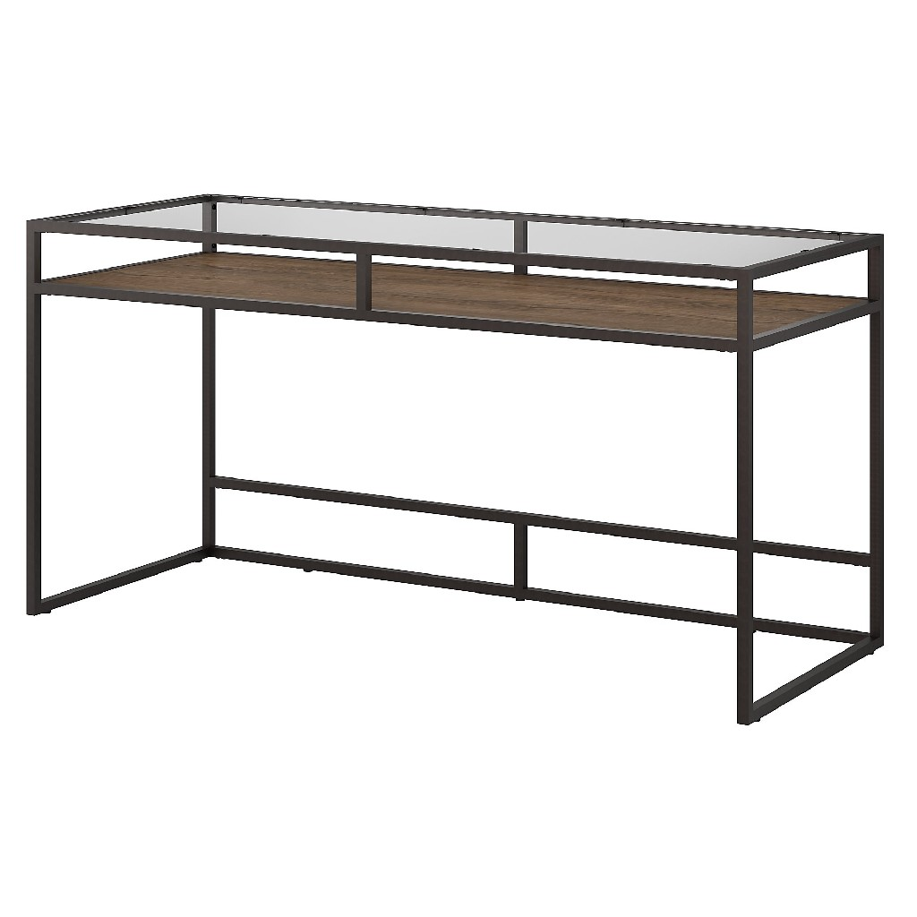 Bush Furniture Anthropology 60W Glass Top Writing Desk with Shelf in Rustic Brown - Bush Furniture ATD360RB-03