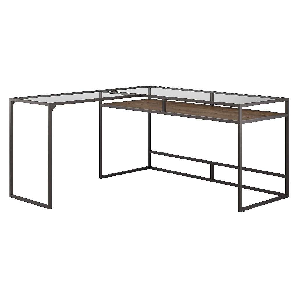Bush Furniture Anthropology 60W Glass Top L Shaped Desk with Shelf in Rustic Brown - Bush Furniture ATD460RB-03K