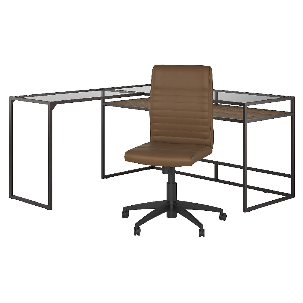 Bush Furniture Anthropology 60W Glass Top L Shaped Desk with Mid Back Ribbed Leather Office Chair in Rustic Brown - Bush Furniture ATH024RB