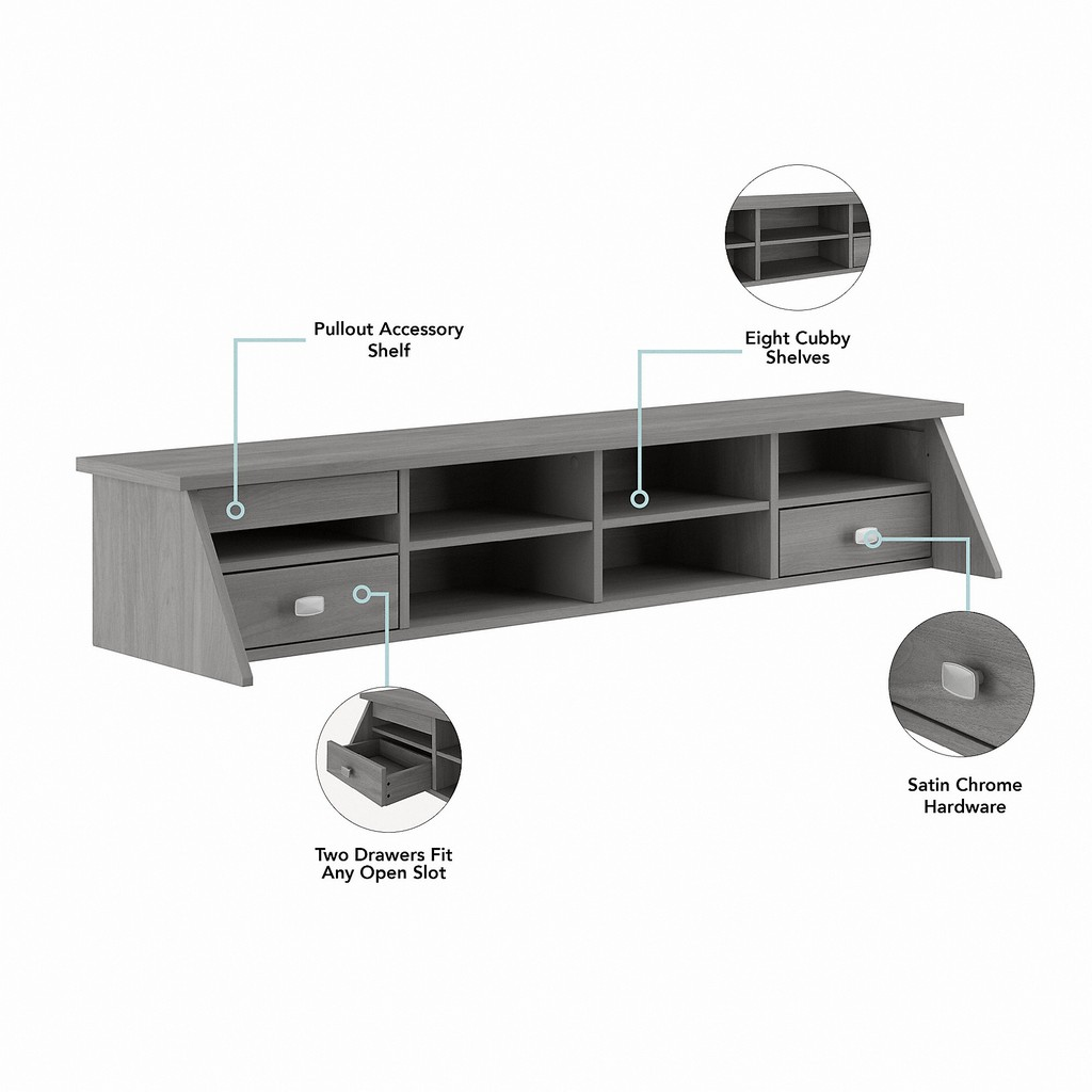 Bush Furniture Broadview 54W Computer Desk with Drawers and Desktop Organizer in Modern Gray - Bush Furniture BD005MG